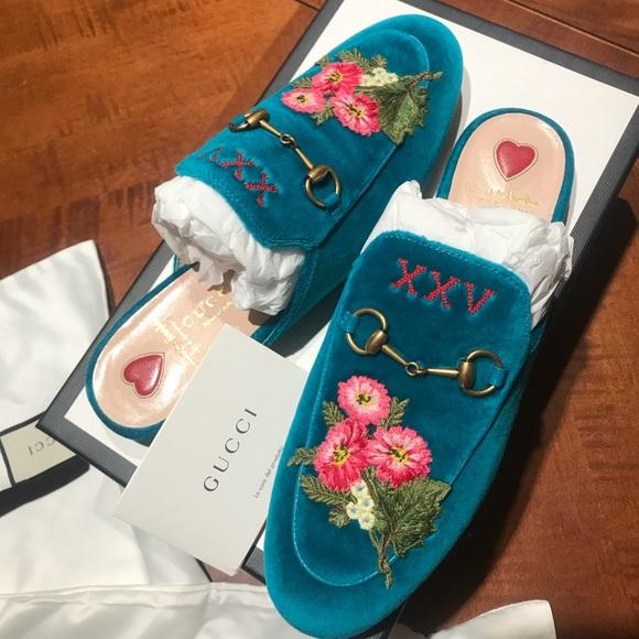 c3192c49fca Velvet Floral Gucci Mule